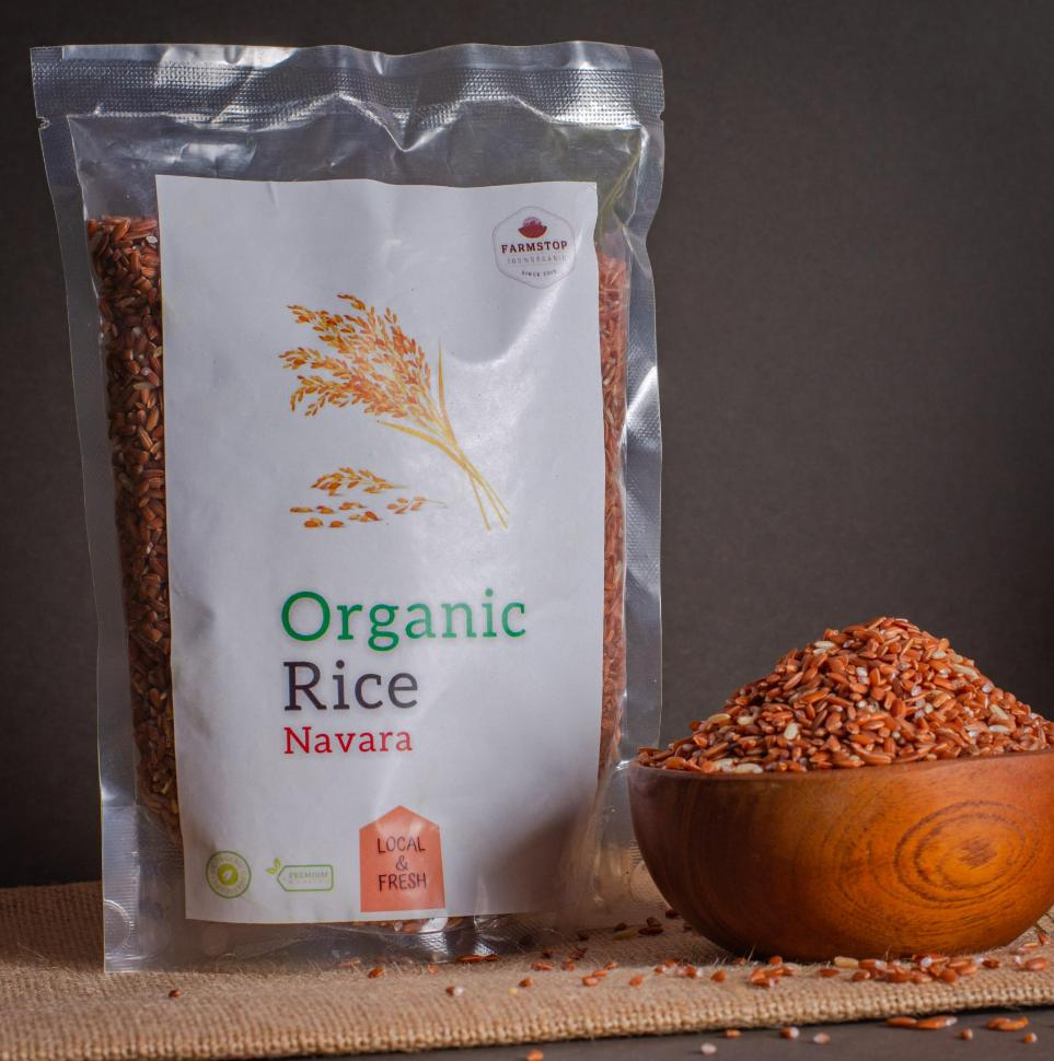 Navara rice is one of the many types of rice found in India and is a unique grain plant in the Oryza group. It originated somewhere in Kerala, where it is regarded as endemic. The rice is often powdered and then mixed with milk and taken in the form of cereal. Navara also has religious significance and is sometimes used in temples for ceremonies.